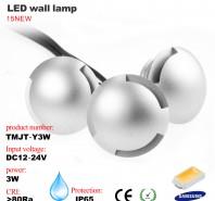 3W LED wall lamp, 12/24VDC, IP65