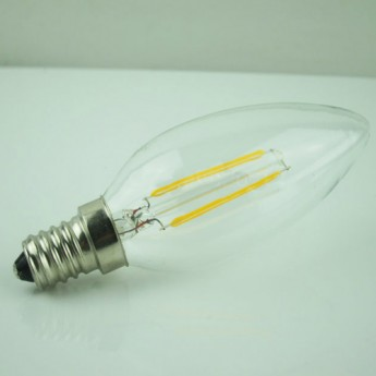 2 watt warm white(2700k) blunt tip led decorative filament bulb with 360° beam angle