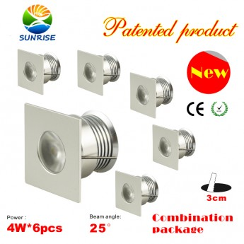 6pcs x 4W non-dimmable puck lights fixture