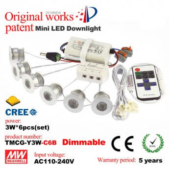 3W LED dimmable mini recessed downlight kit-Sharp COB leds, meanwell driver